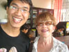Jenny with one of the university students, Dang van Vinh. He is from Vietnam and may be setting up a school there.